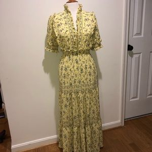 Vintage Style Yellow Crepe Peasant Dress Size S